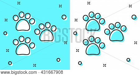 Black Line Paw Print Icon Isolated On Green And White Background. Dog Or Cat Paw Print. Animal Track