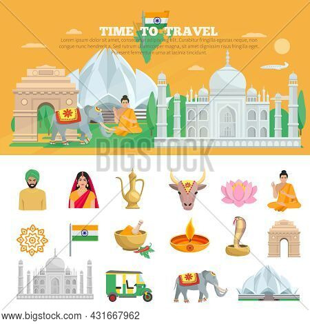 India Travel Set With Tourist Objects And Symbols Of Country Isolated Vector Illustration