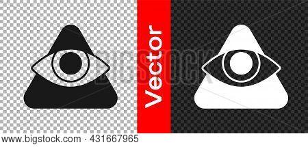 Black Masons Symbol All-seeing Eye Of God Icon Isolated On Transparent Background. The Eye Of Provid