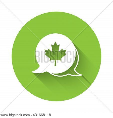 White Canadian Maple Leaf Icon Isolated With Long Shadow Background. Canada Symbol Maple Leaf. Green