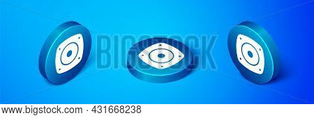 Isometric Stereo Speaker Icon Isolated On Blue Background. Sound System Speakers. Music Icon. Musica