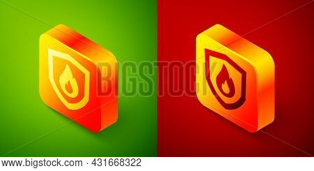 Isometric Fire Protection Shield Icon Isolated On Green And Red Background. Insurance Concept. Secur