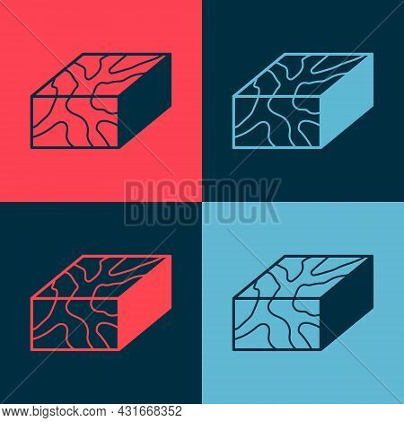Pop Art Wooden Beam Icon Isolated On Color Background. Lumber Beam Plank. Vector