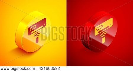 Isometric Air Conditioner Icon Isolated On Orange And Red Background. Split System Air Conditioning.