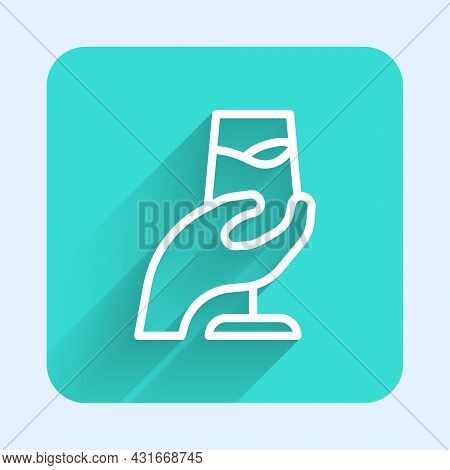 White Line Wine Tasting, Degustation Icon Isolated With Long Shadow Background. Sommelier. Smells Of