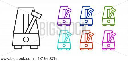 Black Line Classic Metronome With Pendulum In Motion Icon Isolated On White Background. Equipment Of