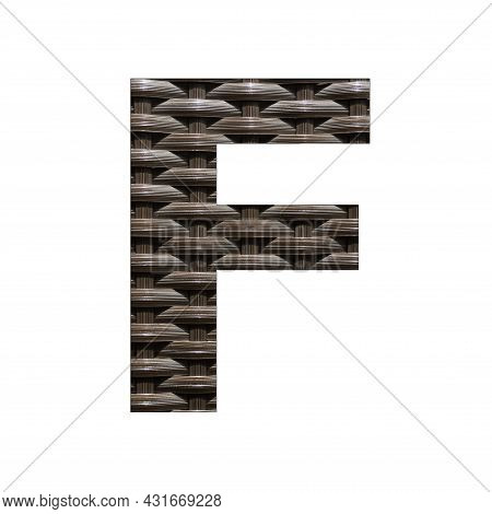 Uppercase Letter F - Synthetic Rattan Background
