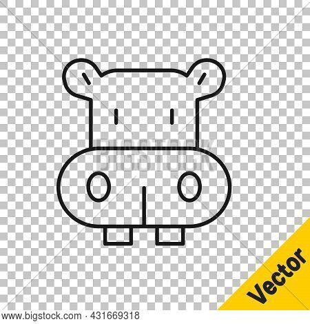 Black Line Hippo Or Hippopotamus Icon Isolated On Transparent Background. Animal Symbol. Vector
