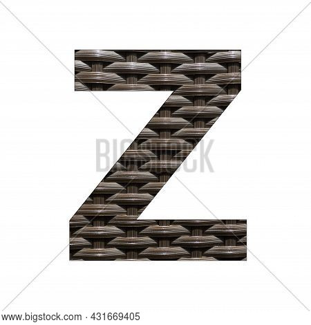 Uppercase Letter Z - Synthetic Rattan Background
