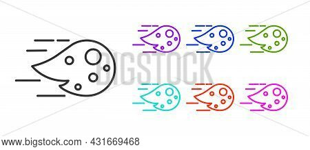 Black Line Fireball Icon Isolated On White Background. Set Icons Colorful. Vector