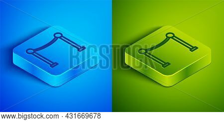 Isometric Line Rope Barrier Icon Isolated On Blue And Green Background. Vip Event, Luxury Celebratio