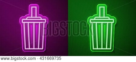 Glowing Neon Line Paper Glass With Drinking Straw And Water Icon Isolated On Purple And Green Backgr