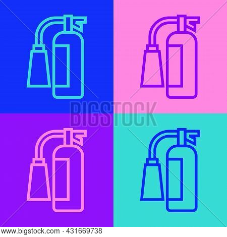 Pop Art Line Fire Extinguisher Icon Isolated On Color Background. Vector