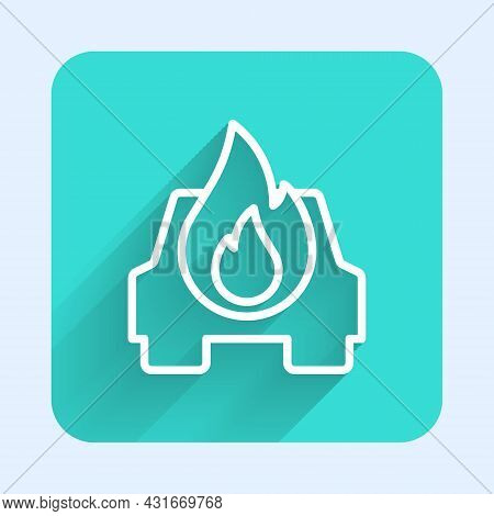 White Line Burning Car Icon Isolated With Long Shadow Background. Car On Fire. Broken Auto Covered W