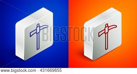 Isometric Line Pickaxe Icon Isolated On Blue And Orange Background. Silver Square Button. Vector