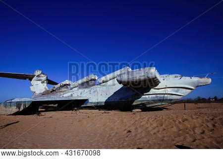 Abandoned Soviet Lun-class Ekranoplan On The Coast Of The Caspian Sea.