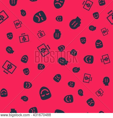Set Comedy Theatrical Mask, Drama, Psychologist Online And Solution To Problem On Seamless Pattern.