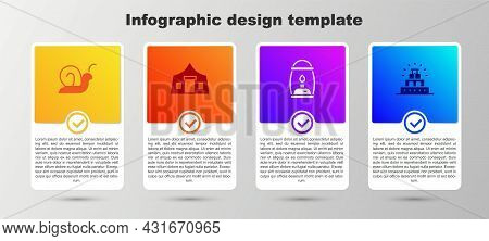 Set Snail, Tourist Tent, Camping Lantern And Chichen Itza Mayan. Business Infographic Template. Vect