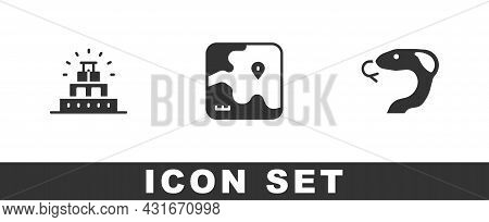 Set Chichen Itza In Mayan, Africa Safari Map And Snake Icon. Vector