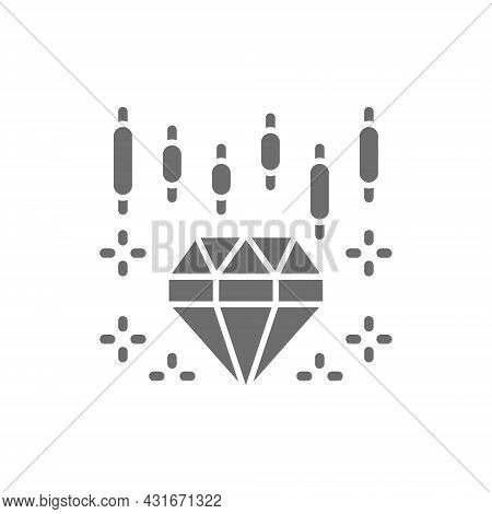 Diamond Index Growth Chart, Rising Cost Of Jewels Grey Icon.