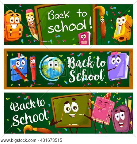 Back To School Banners With Cartoon Education Characters And Blackboard Background. Vector Bookmarks