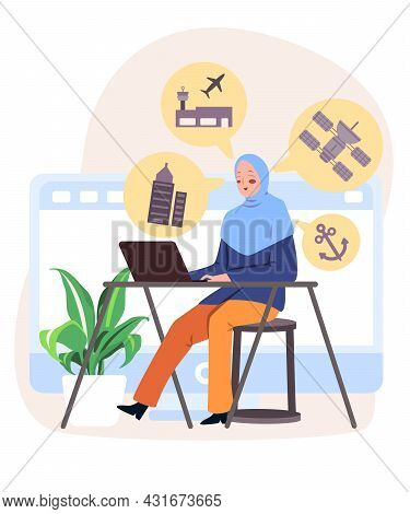Woman With Hijab Scarf Sitting In Front Of Laptop On The Desk To Handle Scada System To Control Phys