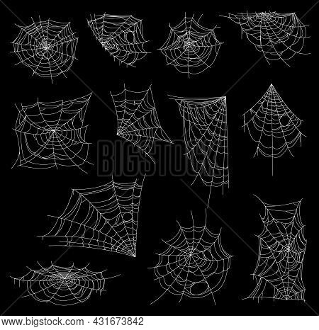 Halloween Web, Spiderweb Or Cobweb Vector Set. Horror Spider Nets With White Corner, Circular And Sp
