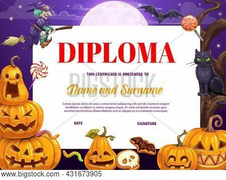 Child Diploma Or Certificate With Cartoon Halloween Pumpkins. Children Kindergarten Diploma, Kids Co