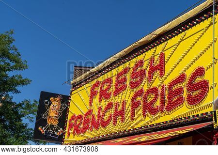 Falcon Heights, Minnesota - August 30, 2021: The Fresh French Fries Food Vendor At The Minnesota Sta