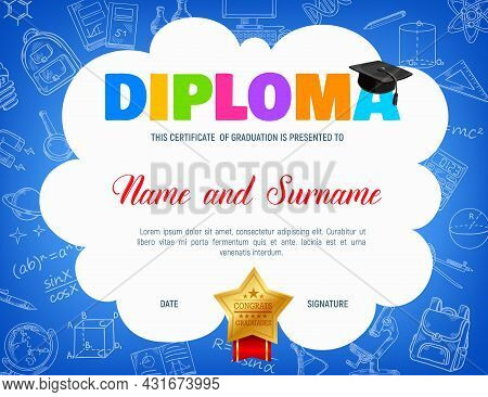 Education Diploma With Student Cap, Maths, Physics, Chemistry Formulas And School Items In Sketch. V