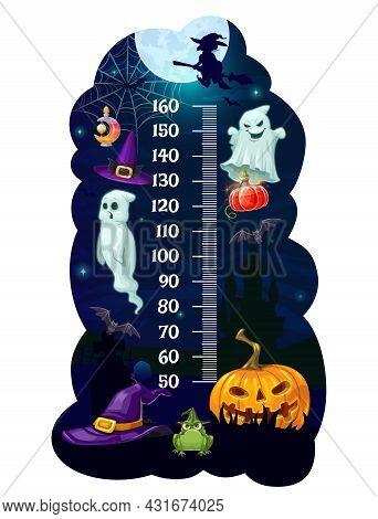 Kids Height Chart Halloween Monsters Growth Measure Meter. Cartoon Vector Wall Sticker With Wizard H