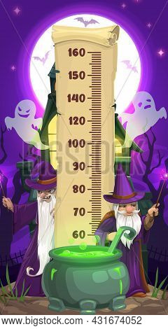 Halloween Kids Height Chart With Cartoon Wizards And Ghosts. Vector Growth Measure Meter Sticker Wit