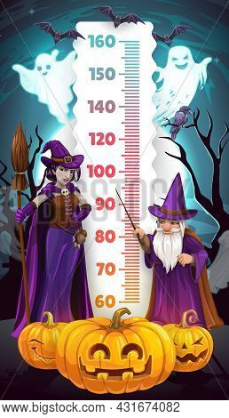 Halloween Kids Height Chart, Cartoon Witch And Wizard Growth Measure Meter. Vector Children Stadiome