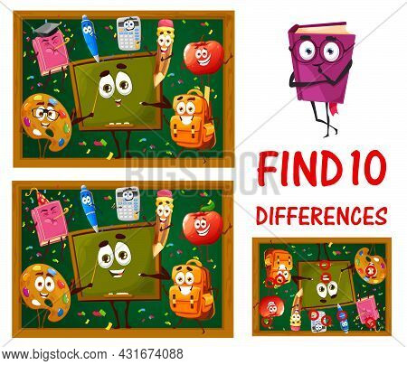 Find Differences Between School Education Characters. Kids Game Worksheet, Vector Boardgame With Fun