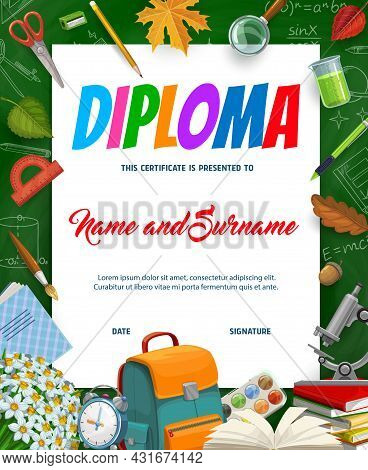 Kids Education Diploma With Schoolbag, Textbook, Stationery And Autumn Leaves. Vector School Certifi