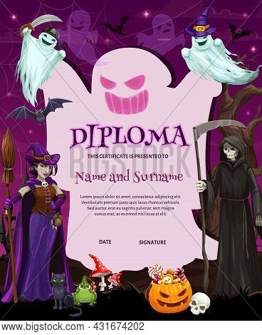 Certificate, Halloween Cartoon Diploma Template, Vector Kid Achievement Or Education Award. Hallowee