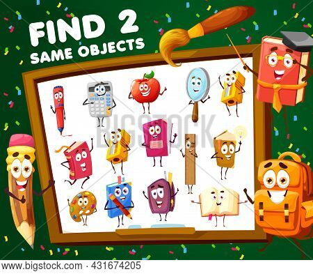 Kids Game Find Two Same School Cartoon Characters. Vector Educational Worksheet, Child Riddle With C