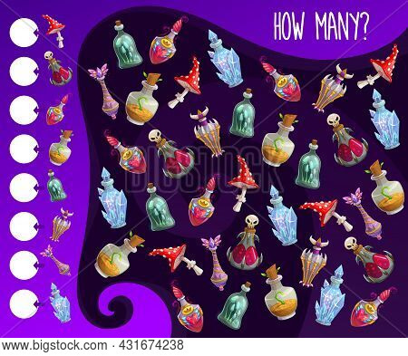 Kids Counting Game With Magic Potions Bottles. Children Educational Exercise, Child How Many Playing