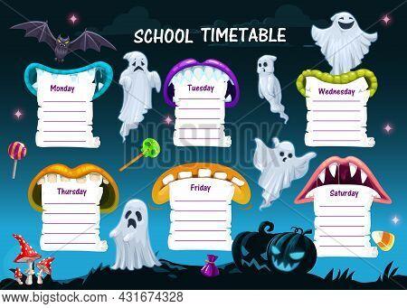 School Timetable Schedule Template, Halloween Cartoon Weekly Planner Table, Vector. Halloween Holida