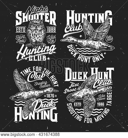 Tshirt Prints With Sketch Duck And Owl, Vector Mascots For Hunting Society Or Hunter Club. Flying Ma
