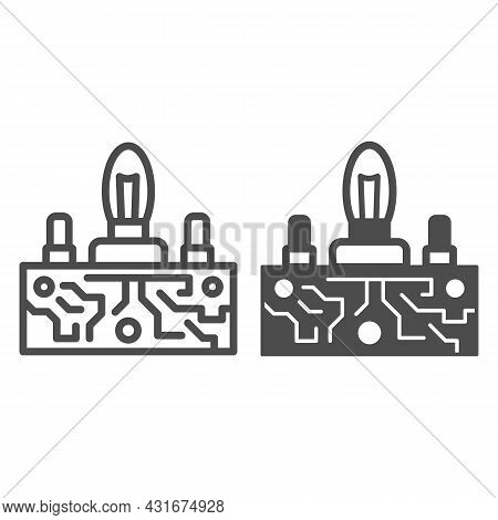Lampas Pcb Control Line And Solid Icon, Electronics Concept, Printed Circuit Board Lamps Vector Sign