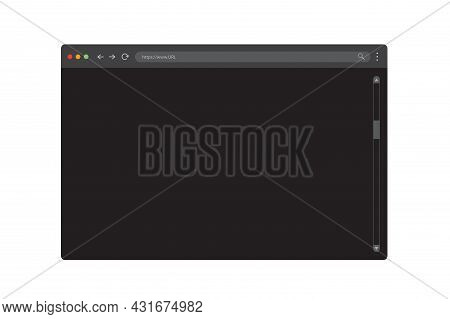 Modern Dark Browser Mockup For Website. Webpage User Interface. Internet Browser Template. Website P