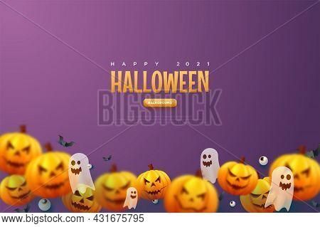 Halloween Pumpkin Blue Background Illustration Background Character