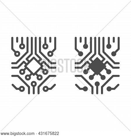 Analog Processor Circuit With Diode And Microchip Line And Solid Icon, Electronics Concept, Pcb Vect