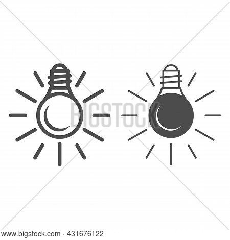 Electric Lamp, Bulb With Sun Beams Line And Solid Icon, Electricity Concept, Source Of Light Vector
