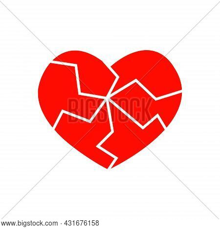 Red Cracked Heart Icon Isolated On White Background. Pictogram Of Medicine For The Cardiovascular Sy