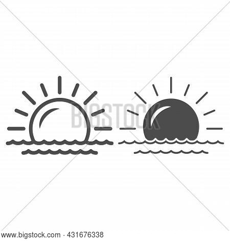Sun And Sea, Seaside, Sunset Line And Solid Icon, Weather And Climate Concept, Sunrise Vector Sign O