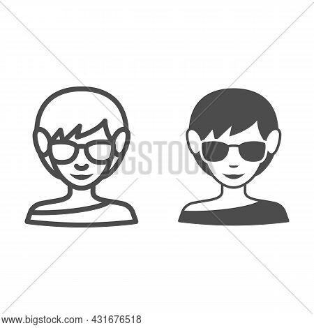 Girl In Sunglasses Line And Solid Icon, Weather And Climate Concept, Woman In Spectacles Vector Sign