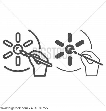 Sun And Painting Brush In Hand, Drawing Line And Solid Icon, Sun Concept, Hand Drawn Sunshine Vector