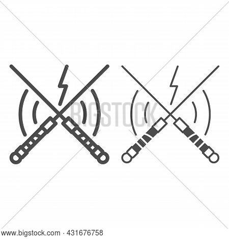 Laser Swords In Battle Line And Solid Icon, Star Wars Concept, Lightsaber Combat Vector Sign On Whit